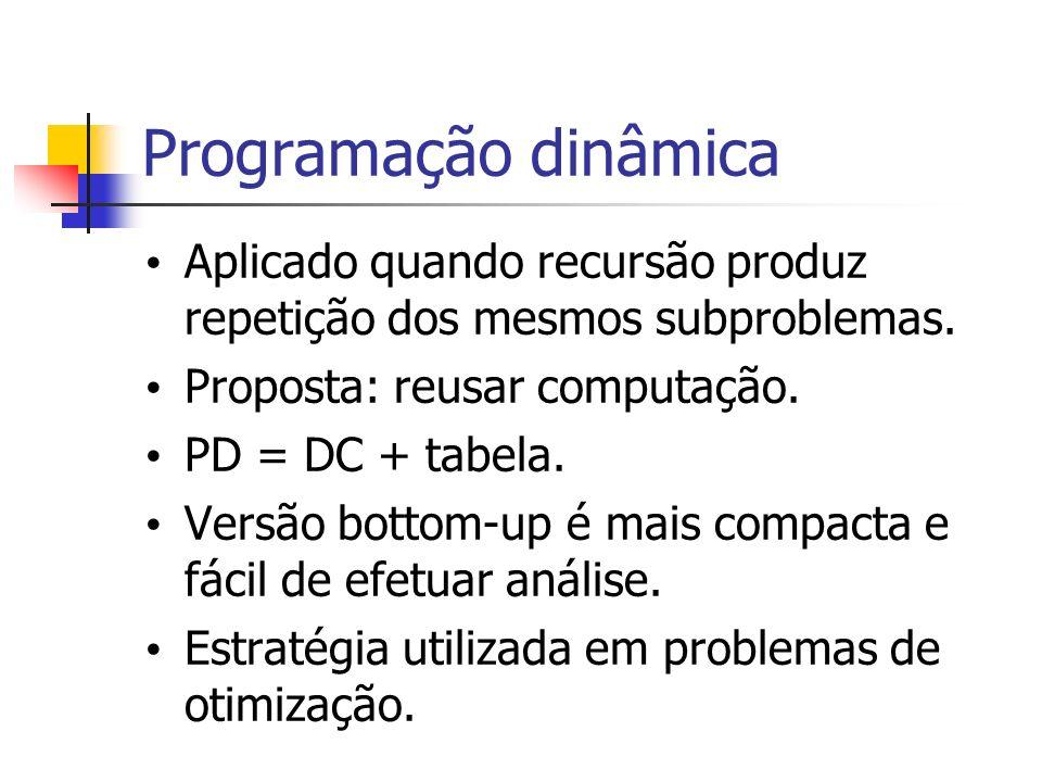 Programação dinâmica Aplicado quando recursão produz repetição dos mesmos subproblemas. Proposta: reusar computação. PD = DC + tabela. Versão bottom-u