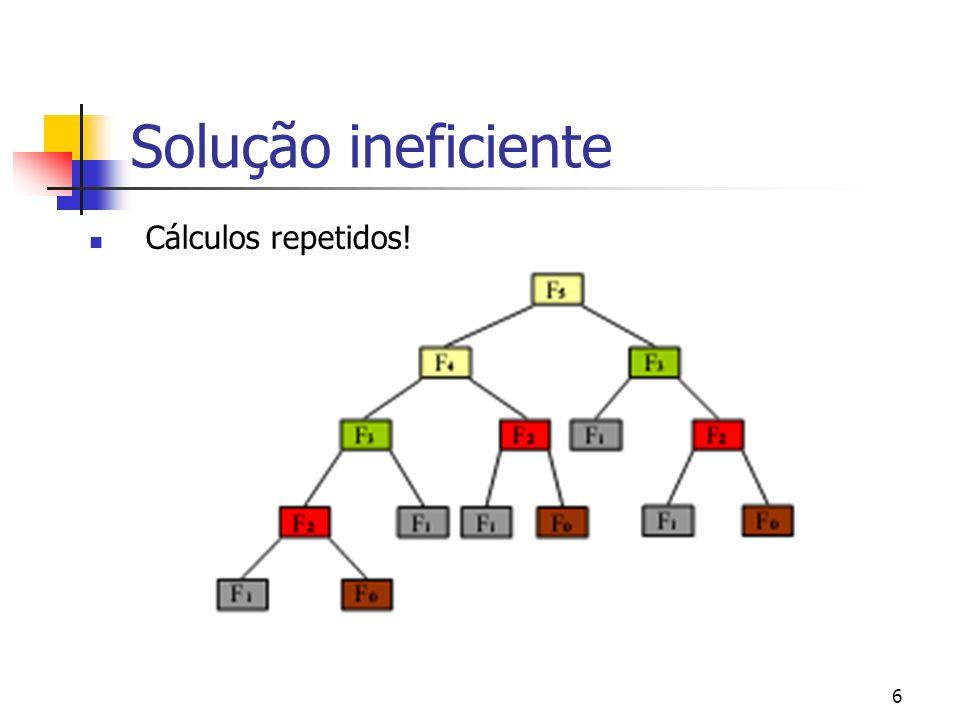 6 Solução ineficiente Cálculos repetidos!