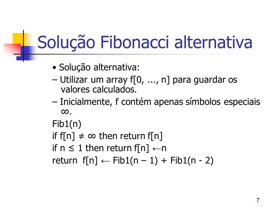 7 Solução Fibonacci alternativa Solução alternativa: – Utilizar um array f[0,..., n] para guardar os valores calculados. – Inicialmente, f contém apen