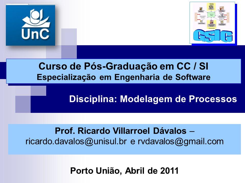 Disciplina: Modelagem de Processos Curso de Pós-Graduação em CC / SI Especialização em Engenharia de Software Curso de Pós-Graduação em CC / SI Especialização em Engenharia de Software Prof.