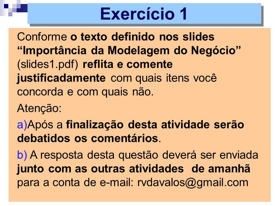 Conforme o texto definido nos slides Importância da Modelagem do Negócio (slides1.pdf) reflita e comente justificadamente com quais itens você concorda e com quais não.