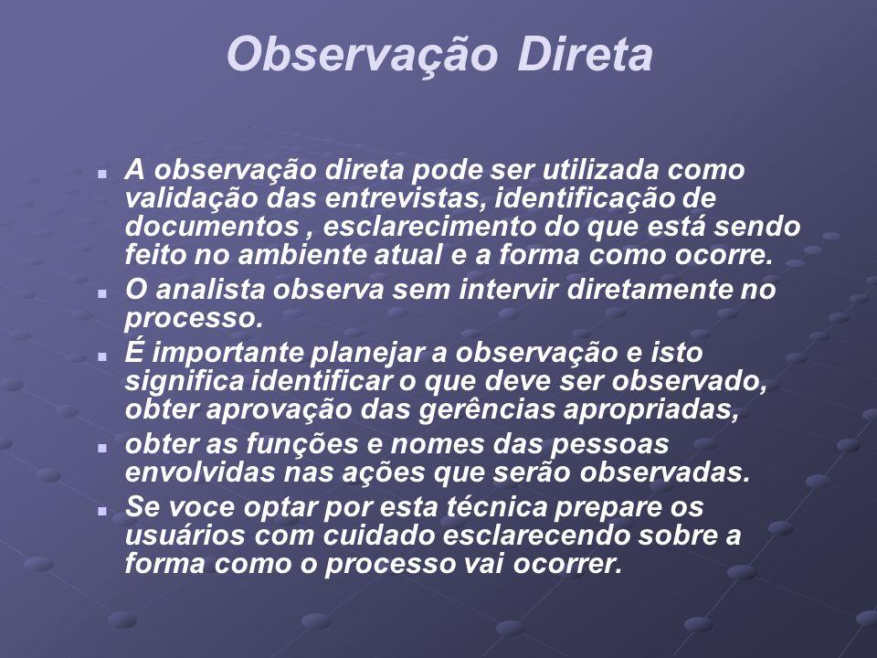Observação Direta A observação direta pode ser utilizada como validação das entrevistas, identificação de documentos, esclarecimento do que está sendo
