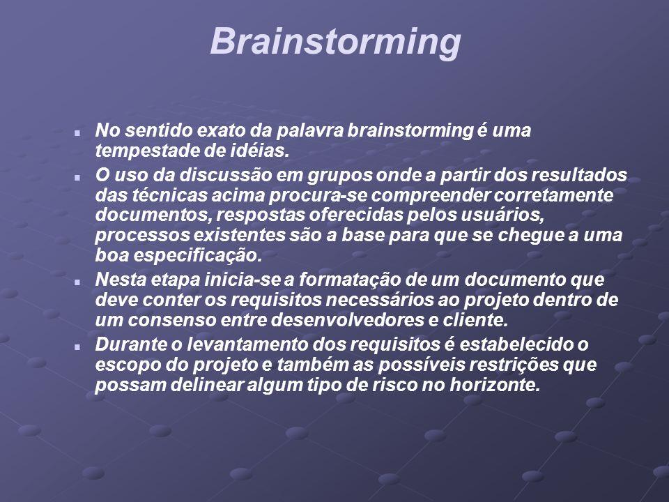 Brainstorming No sentido exato da palavra brainstorming é uma tempestade de idéias. O uso da discussão em grupos onde a partir dos resultados das técn