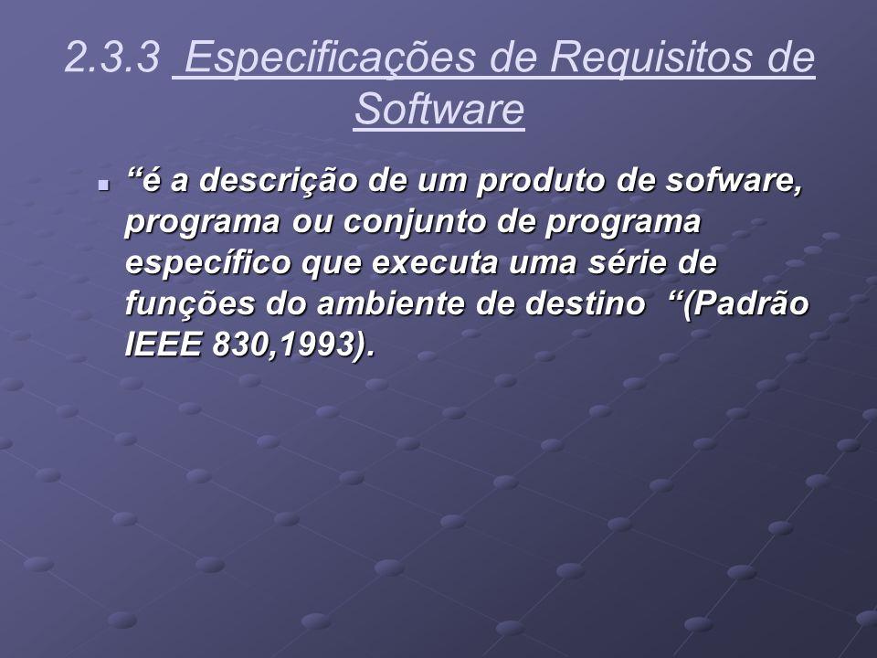 2.3.3 Especificações de Requisitos de Software é a descrição de um produto de sofware, programa ou conjunto de programa específico que executa uma sér