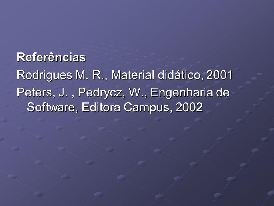 Referências Rodrigues M. R., Material didático, 2001 Peters, J., Pedrycz, W., Engenharia de Software, Editora Campus, 2002