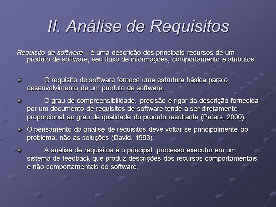 II. Análise de Requisitos Requisito de software – é uma descrição dos principais recursos de um produto de software, seu fluxo de informações, comport