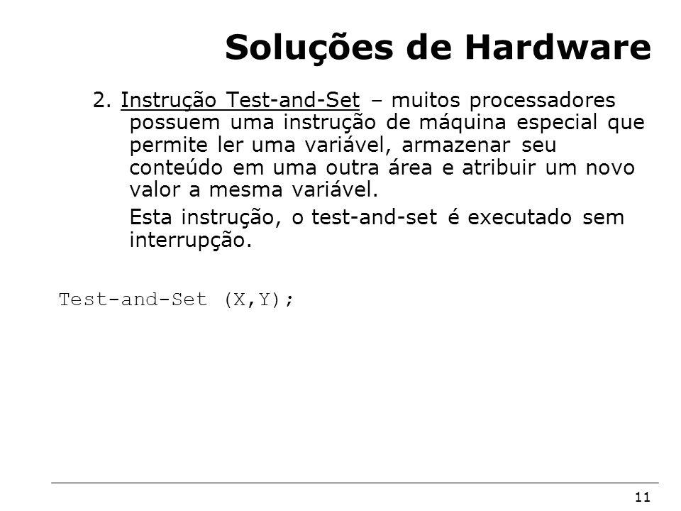 Arquitetura de Sistemas Operacionais – Machado/Maia 11 Soluções de Hardware 2. Instrução Test-and-Set – muitos processadores possuem uma instrução de