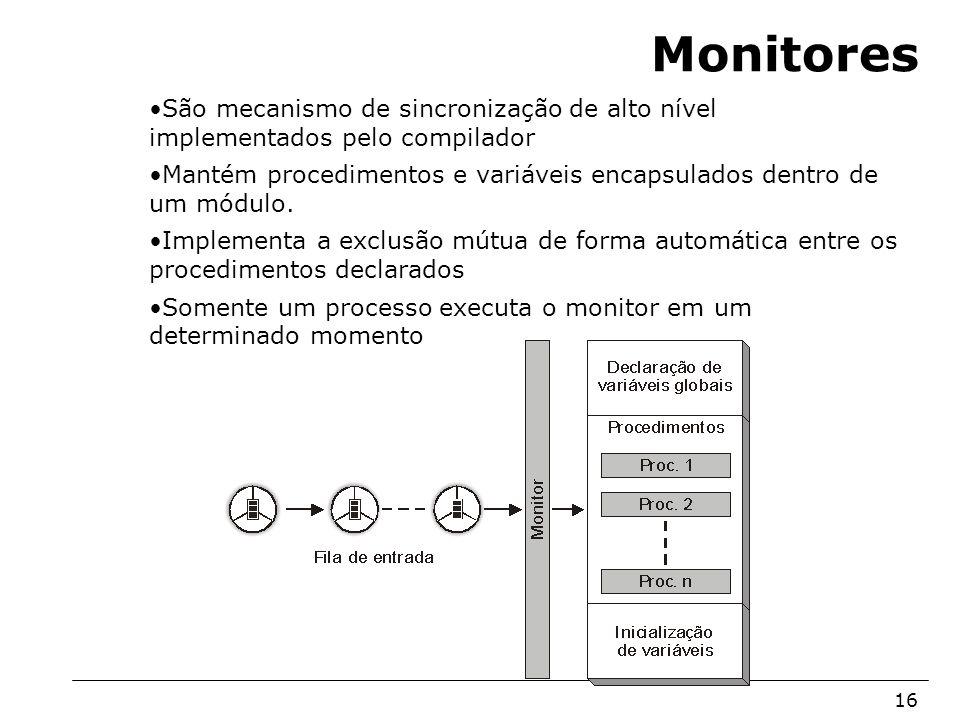 Arquitetura de Sistemas Operacionais – Machado/Maia 16 Monitores São mecanismo de sincronização de alto nível implementados pelo compilador Mantém pro