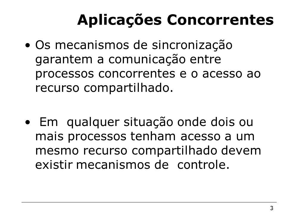 Arquitetura de Sistemas Operacionais – Machado/Maia 3 Aplicações Concorrentes Os mecanismos de sincronização garantem a comunicação entre processos co