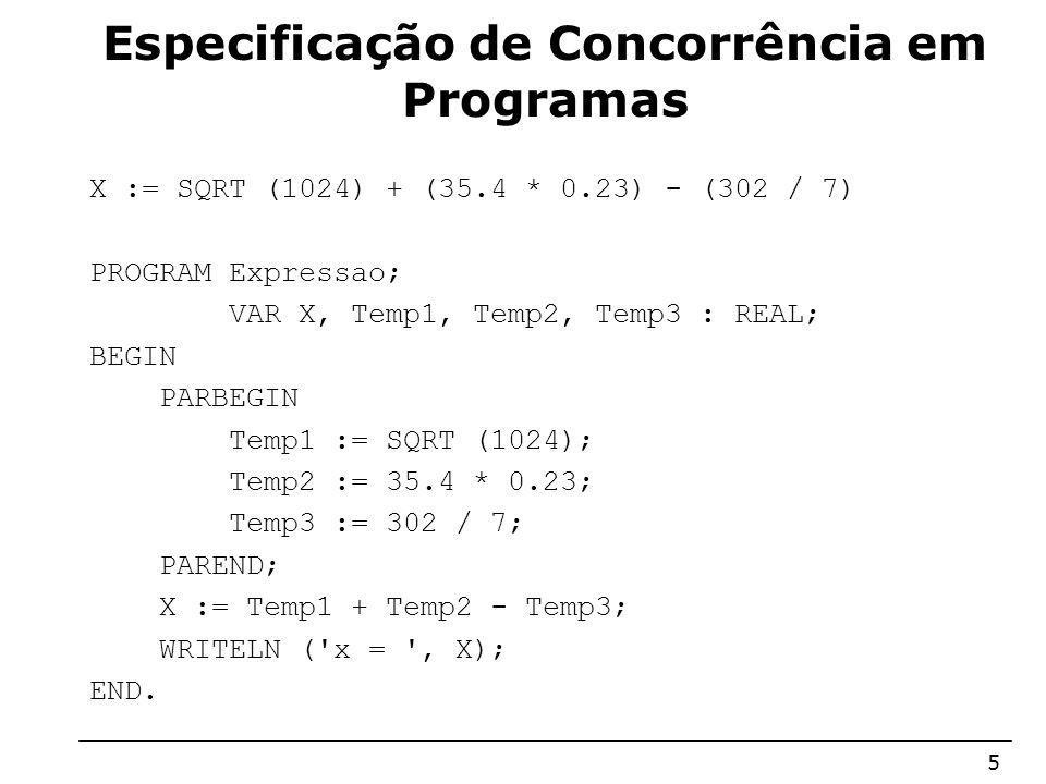 Arquitetura de Sistemas Operacionais – Machado/Maia 5 Especificação de Concorrência em Programas X := SQRT (1024) + (35.4 * 0.23) - (302 / 7) PROGRAM