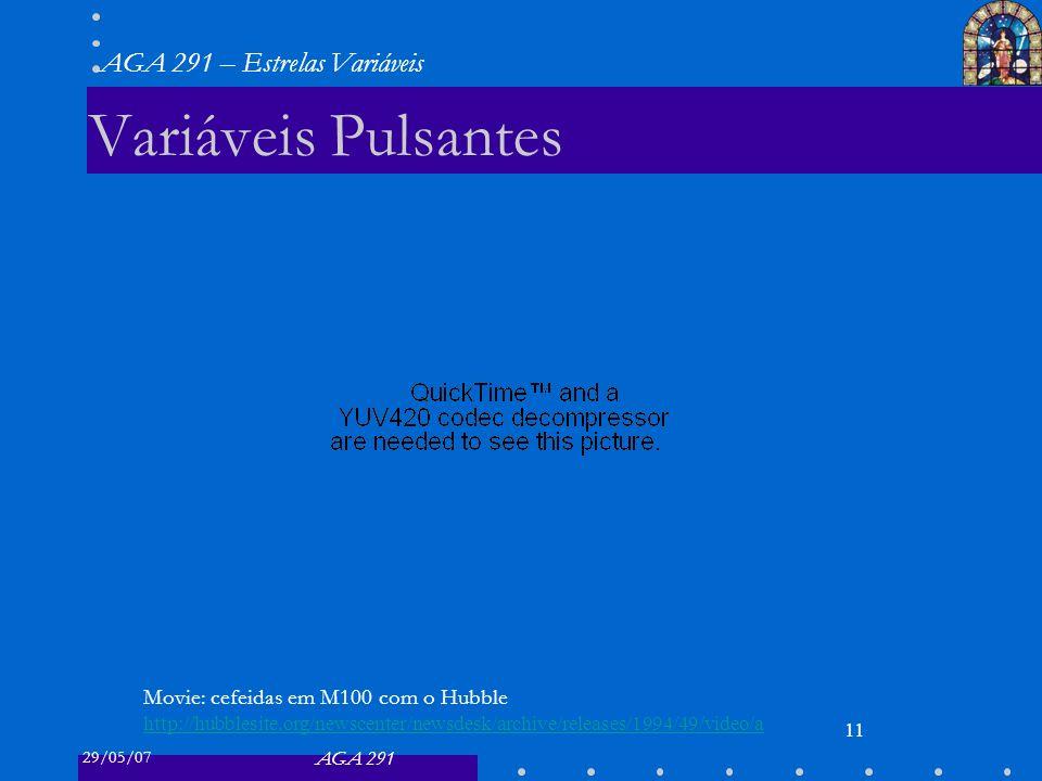 29/05/07 AGA 291 AGA 291 – Estrelas Variáveis 11 Variáveis Pulsantes Movie: cefeidas em M100 com o Hubble http://hubblesite.org/newscenter/newsdesk/archive/releases/1994/49/video/a