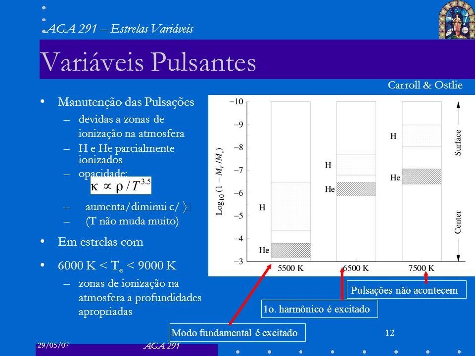 29/05/07 AGA 291 AGA 291 – Estrelas Variáveis 12 Variáveis Pulsantes Manutenção das Pulsações –devidas a zonas de ionização na atmosfera –H e He parcialmente ionizados –opacidade: –aumenta/diminui c/ –(T não muda muito) Em estrelas com 6000 K < T e < 9000 K –zonas de ionização na atmosfera a profundidades apropriadas Carroll & Ostlie Modo fundamental é excitado 1o.