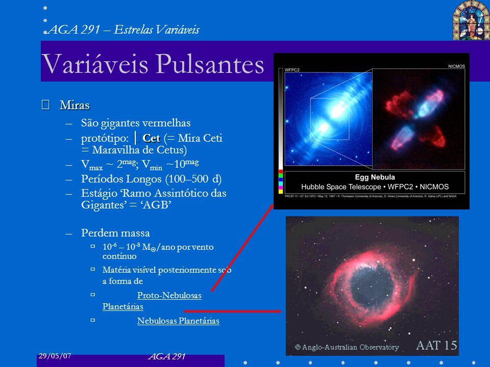 29/05/07 AGA 291 AGA 291 – Estrelas Variáveis 16 Variáveis Eruptivas Novas Novas –Variação rápida (dias) e grande (7 – 16 mag) –Três tipos: –Comuns explosão maior, Δ m 10–16 mag –Recorrentes Δ m 10 mag, Δ t ~ décadas –Anãs Δ m 2 – 6 mag, Δ t ~ 200 – 600 d binárias próximas –São binárias próximas –Depois que H suficiente acretou na sup.