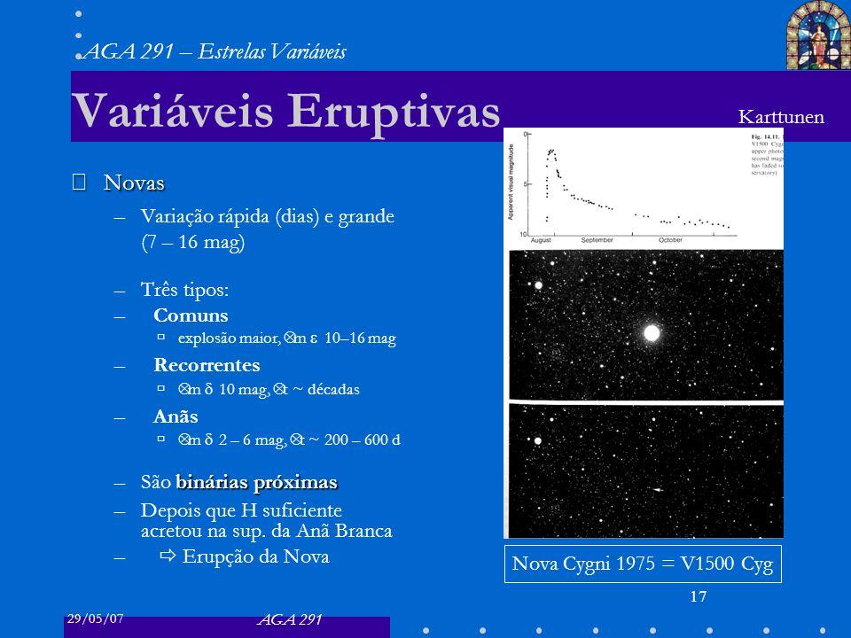 29/05/07 AGA 291 AGA 291 – Estrelas Variáveis 18 Variáveis Eruptivas Novas Novas –Variação rápida (dias) e grande (7 – 16 mag) –Três tipos: –Comuns explosão maior, Δ m 10–16 mag –Recorrentes Δ m 10 mag, Δ t ~ décadas –Anãs Δ m 2 – 6 mag, Δ t ~ 200 – 600 d binárias próximas –São binárias próximas –Depois que H suficiente acretou na sup.
