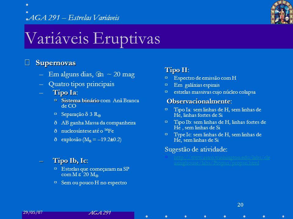 29/05/07 AGA 291 AGA 291 – Estrelas Variáveis 20 Variáveis Eruptivas Supernovas Supernovas –Em alguns dias, Δ m ~ 20 mag –Quatro tipos principais Tipo Ia –Tipo Ia: Sistema binário Sistema binário com Anã Branca de CO Separação 3 R ðAB ganha Massa da companheira ðnucleosíntese até o 56 Fe ðexplosão (M B = –19.2±0.2) –Tipo Ib, Ic –Tipo Ib, Ic: Estrelas que começaram na SP com M 20 M Sem ou pouco H no espectro Tipo II Tipo II: Espectro de emissão com H Em galáxias espirais estrelas massivas cujo núcleo colapsa Observacionalmente Observacionalmente: Tipo Ia: sem linhas de H, sem linhas de He, linhas fortes de Si Tipo Ib: sem linhas de H, linhas fortes de He, sem linhas de Si Type Ic: sem linhas de H, sem linhas de He, sem linhas de Si Sugestão de atividade: http://www.astro.washington.edu/labs/cle aringhouse/labs/Propsn/propsn.html http://www.astro.washington.edu/labs/cle aringhouse/labs/Propsn/propsn.html