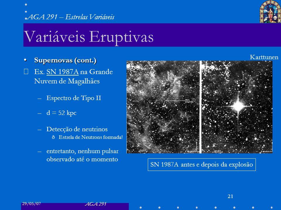 29/05/07 AGA 291 AGA 291 – Estrelas Variáveis 22 Variáveis Eruptivas Supernovas (cont.)Supernovas (cont.) SN 1987a (cont.) –Curva de luz decaiu exponencialmente t 1/2 = 77 d –Explicação Curva de luz energizada por Raios- : 56 Ni 56 Co + e + + + (t 1/2 = 6.1 d) 56 Co 56 Fe + e + + + (t 1/2 = 77.1 d) onde os núcleos instáveis foram criados no colapso e ejetados.