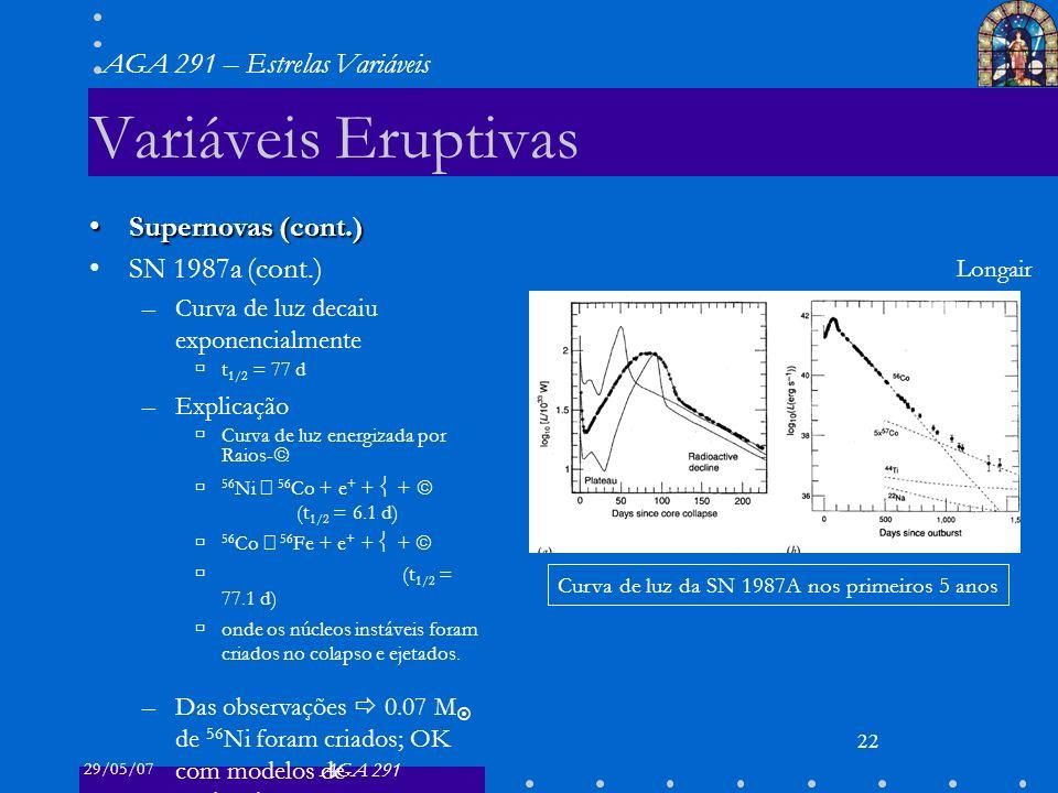 29/05/07 AGA 291 AGA 291 – Estrelas Variáveis 23 Importância das Variáveis Supernovas de Tipo II Supernovas de Tipo II: –formam elementos mais pesados que o 56 Fe –ejetam materiais no Meio Interestelar gerações posteriores de estrelas enriquecidas em metais MirasMiras também contribuem com materiais –criados por captura lenta de neutrons –trazidos à superfície –ejetados pelo vento estelar (gás e poeira)