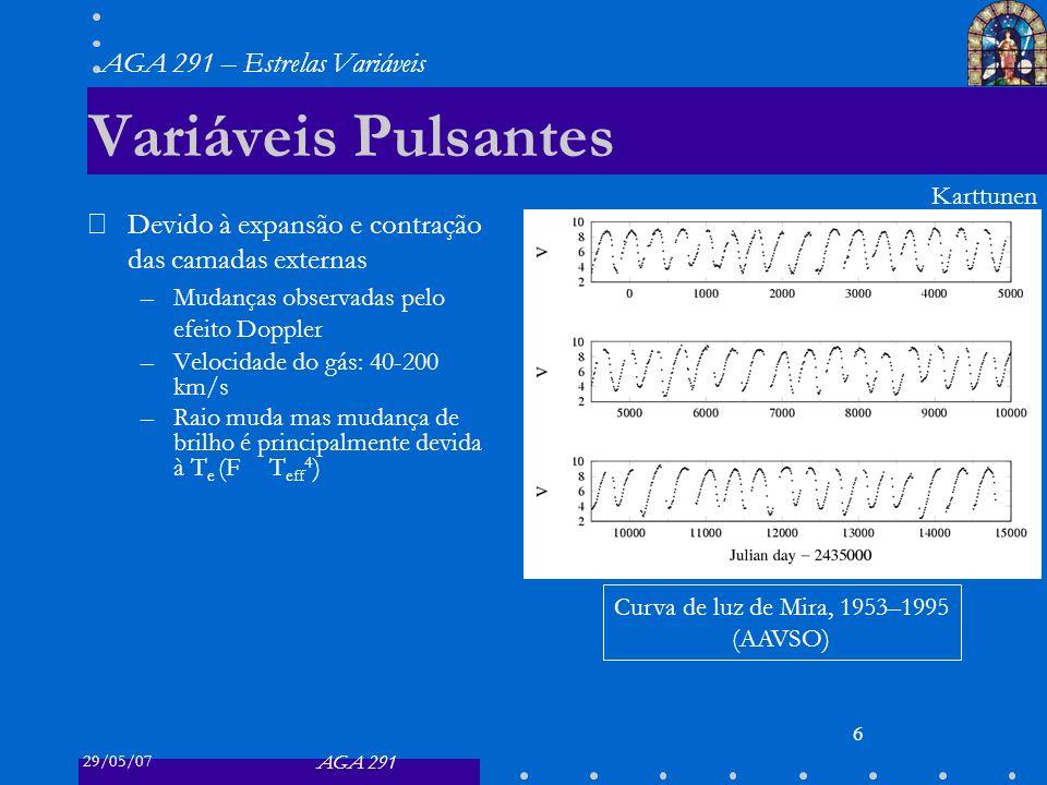 29/05/07 AGA 291 AGA 291 – Estrelas Variáveis 6 Variáveis Pulsantes Devido à expansão e contração das camadas externas –Mudanças observadas pelo efeito Doppler –Velocidade do gás: 40-200 km/s –Raio muda mas mudança de brilho é principalmente devida à T e (F T eff 4 ) Curva de luz de Mira, 1953–1995 (AAVSO) Karttunen