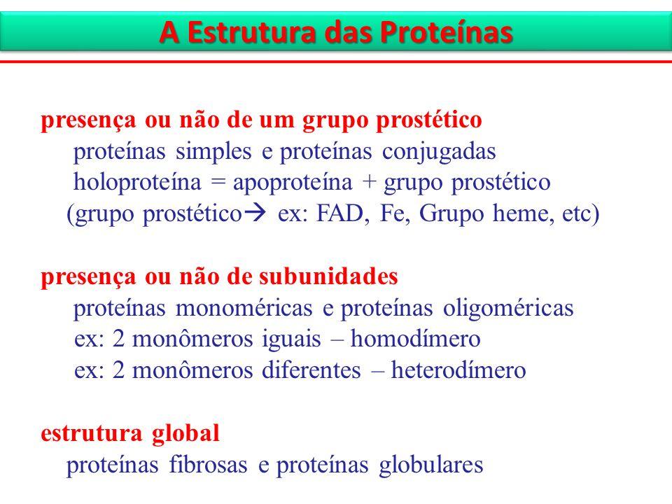 presença ou não de um grupo prostético proteínas simples e proteínas conjugadas holoproteína = apoproteína + grupo prostético (grupo prostético ex: FA