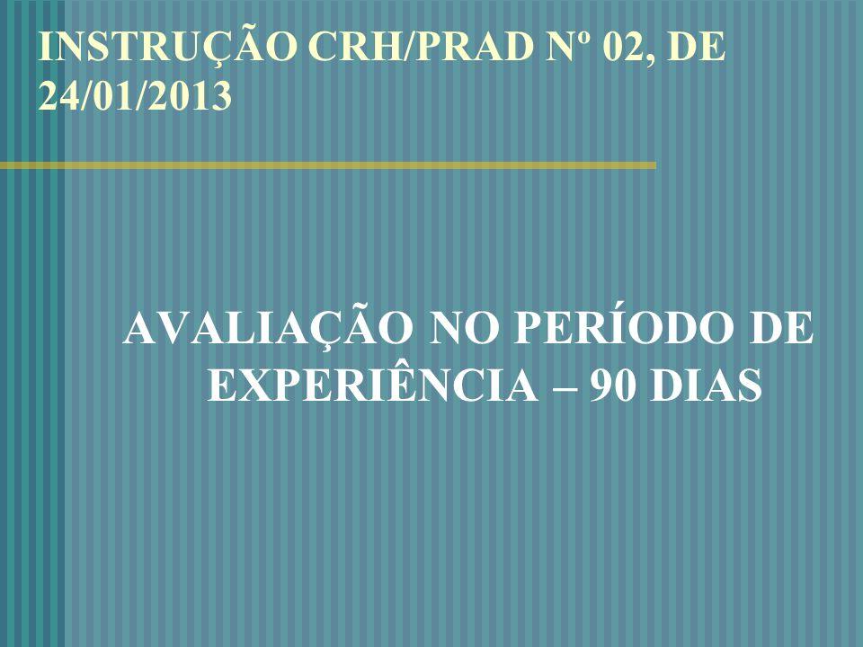 INSTRUÇÃO CRH/PRAD Nº 02, DE 24/01/2013 AVALIAÇÃO NO PERÍODO DE EXPERIÊNCIA – 90 DIAS