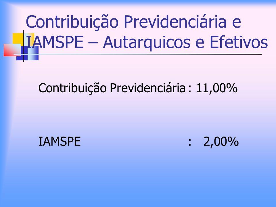 Contribuição Previdenciária e IAMSPE – Autarquicos e Efetivos Contribuição Previdenciária: 11,00% IAMSPE: 2,00%
