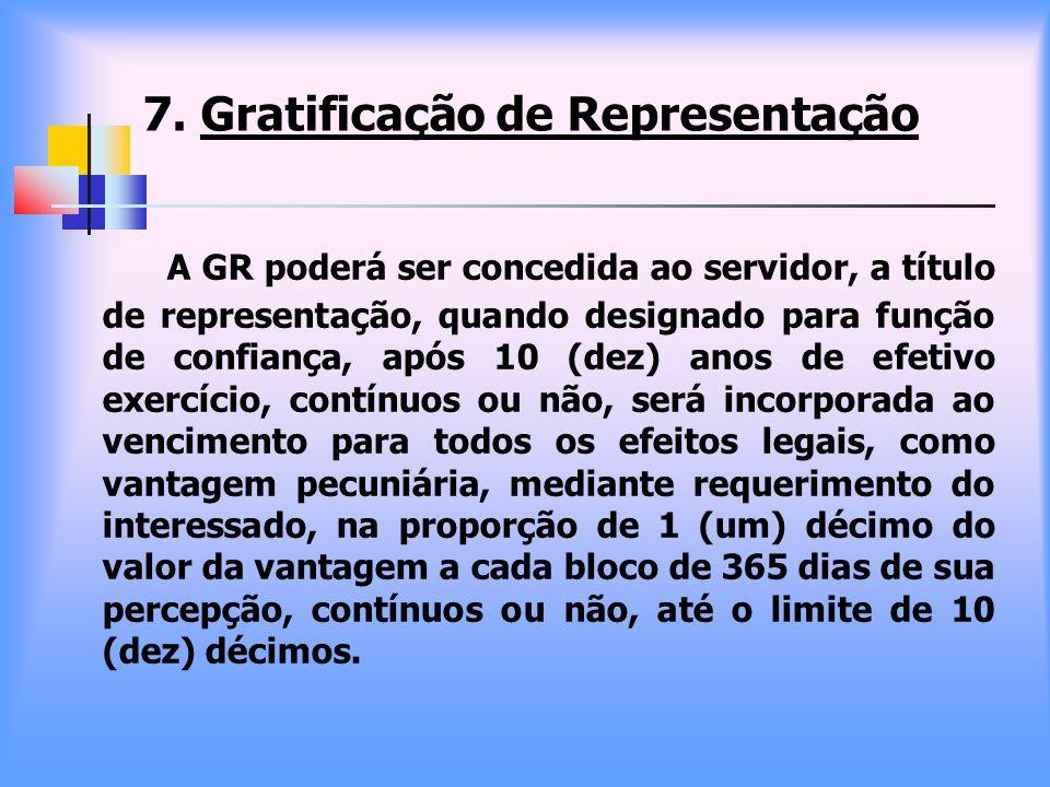 7. Gratificação de Representação A GR poderá ser concedida ao servidor, a título de representação, quando designado para função de confiança, após 10