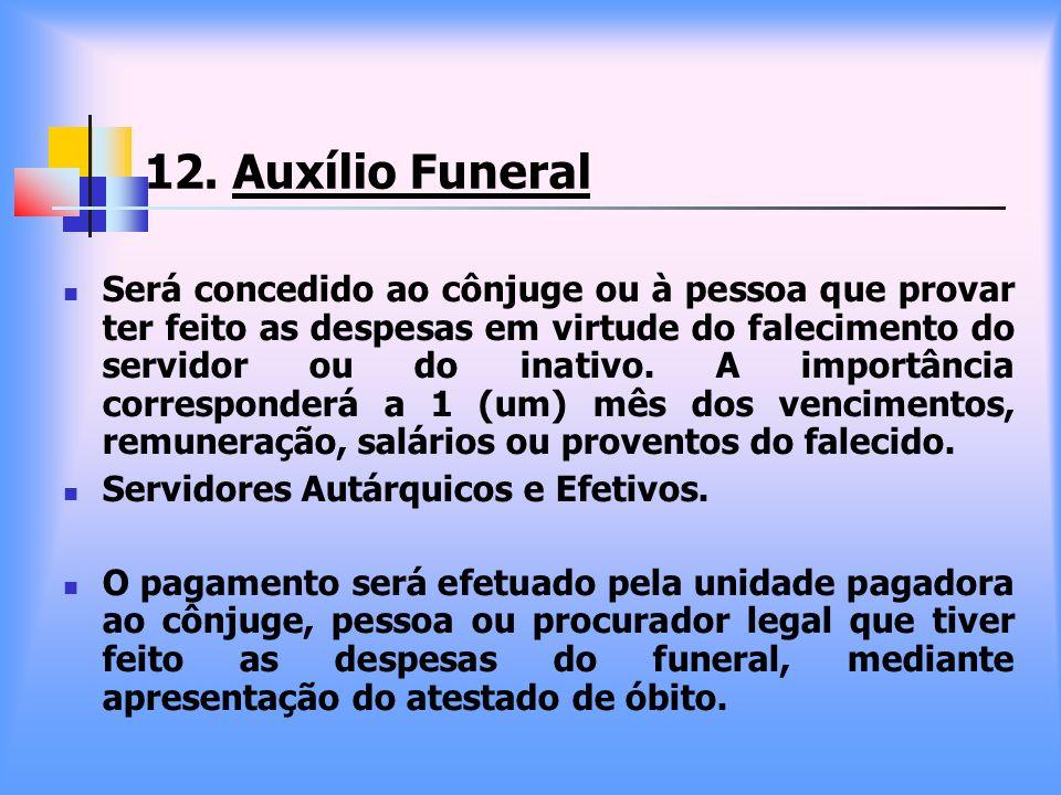 12. Auxílio Funeral Será concedido ao cônjuge ou à pessoa que provar ter feito as despesas em virtude do falecimento do servidor ou do inativo. A impo