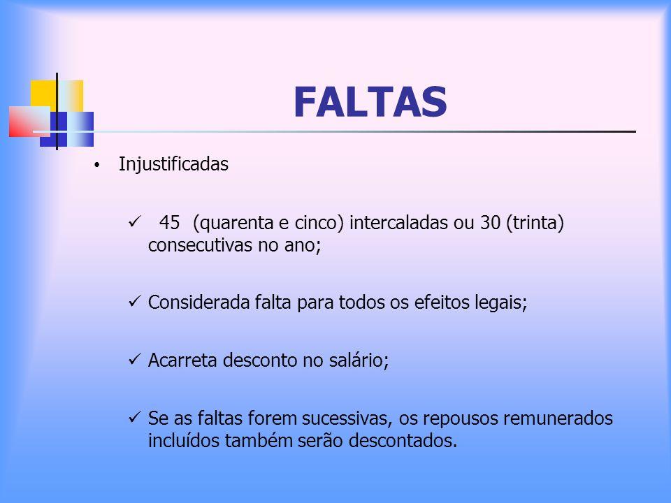 FALTAS Injustificadas 45(quarenta e cinco) intercaladas ou 30 (trinta) consecutivas no ano; Considerada falta para todos os efeitos legais; Acarreta d