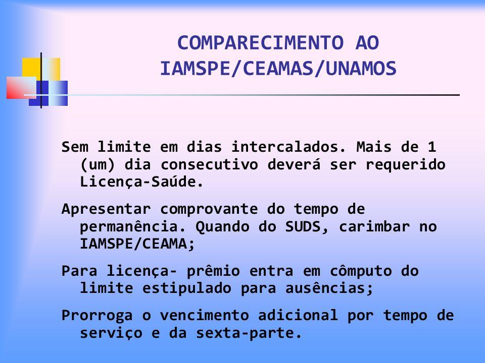 COMPARECIMENTO AO IAMSPE/CEAMAS/UNAMOS Sem limite em dias intercalados. Mais de 1 (um) dia consecutivo deverá ser requerido Licença-Saúde. Apresentar