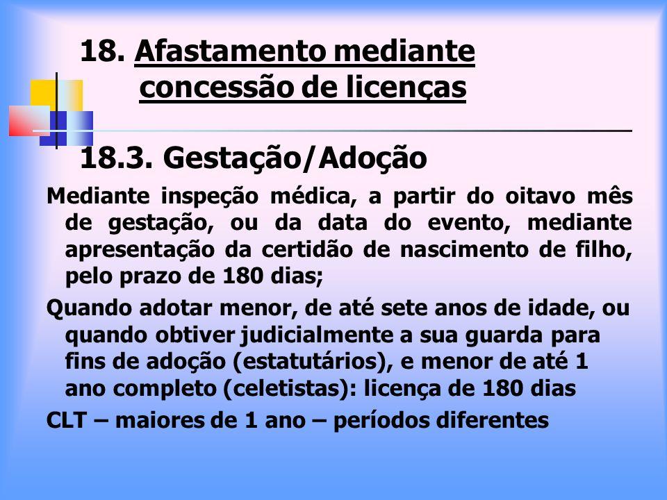 18. Afastamento mediante concessão de licenças 18.3. Gestação/Adoção Mediante inspeção médica, a partir do oitavo mês de gestação, ou da data do event