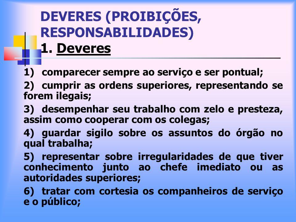 DEVERES (PROIBIÇÕES, RESPONSABILIDADES) 1. Deveres 1) comparecer sempre ao serviço e ser pontual; 2) cumprir as ordens superiores, representando se fo