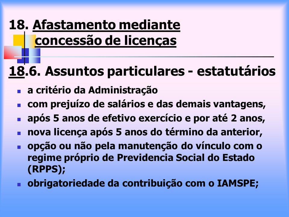 18. Afastamento mediante concessão de licenças 18.6. Assuntos particulares - estatutários a critério da Administração com prejuízo de salários e das d