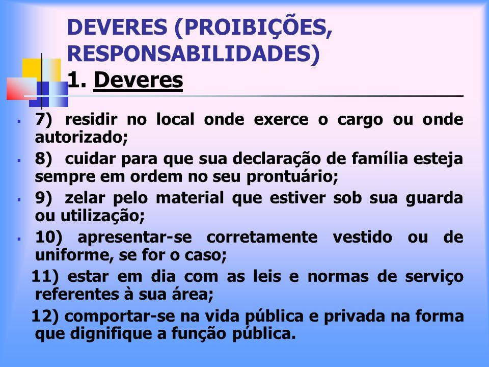 DEVERES (PROIBIÇÕES, RESPONSABILIDADES) 1. Deveres 7) residir no local onde exerce o cargo ou onde autorizado; 8) cuidar para que sua declaração de fa