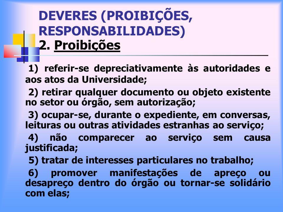 DEVERES (PROIBIÇÕES, RESPONSABILIDADES) 2. Proibições 1) referir-se depreciativamente às autoridades e aos atos da Universidade; 2) retirar qualquer d