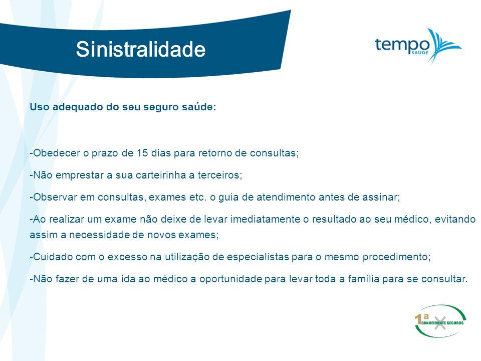 Sinistralidade Uso adequado do seu seguro saúde: -Obedecer o prazo de 15 dias para retorno de consultas; -Não emprestar a sua carteirinha a terceiros;