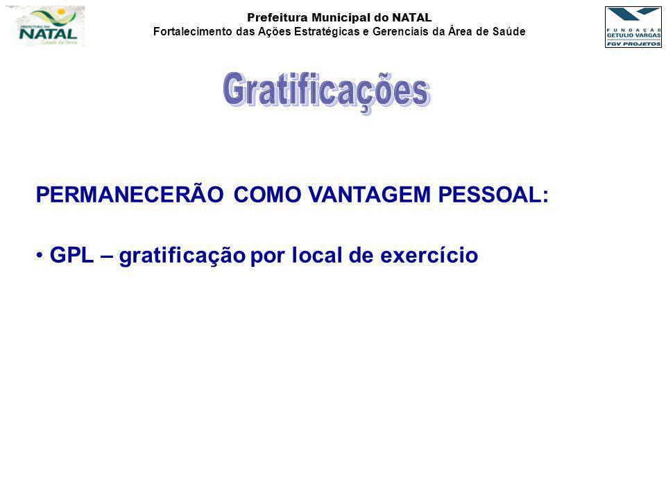 Prefeitura Municipal do NATAL Fortalecimento das Ações Estratégicas e Gerenciais da Área de Saúde PERMANECERÃO COMO VANTAGEM PESSOAL: GPL – gratificaç