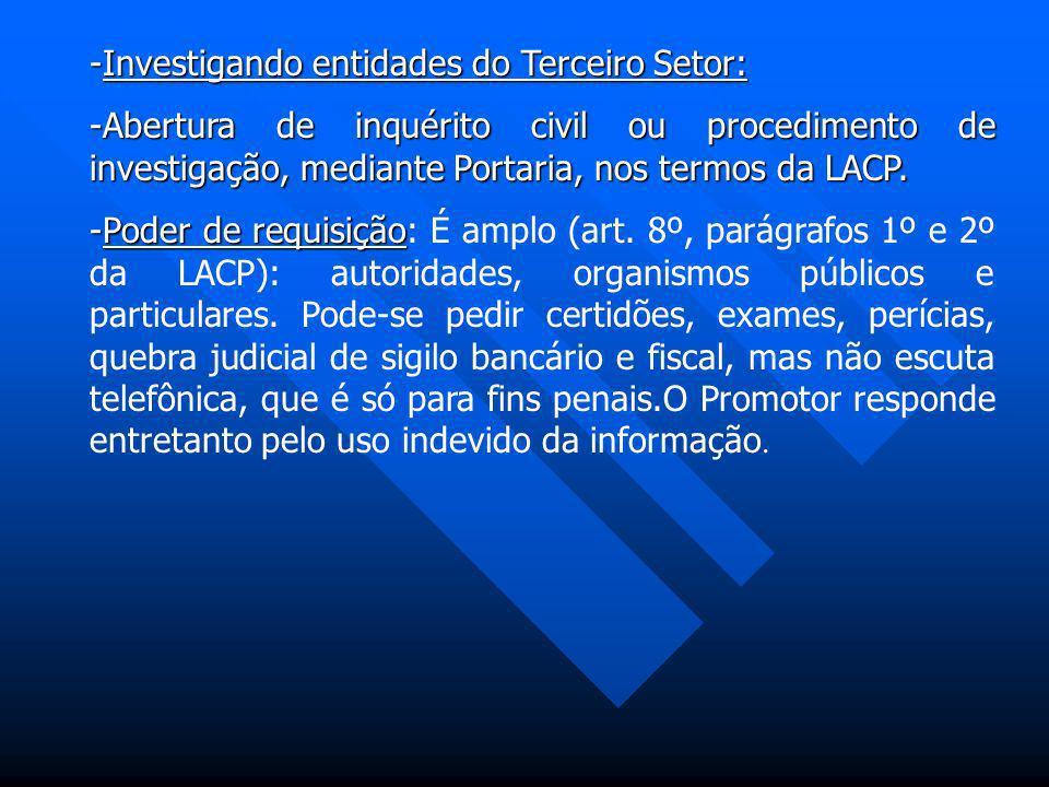 -Investigando entidades do Terceiro Setor: -Abertura de inquérito civil ou procedimento de investigação, mediante Portaria, nos termos da LACP. -Poder