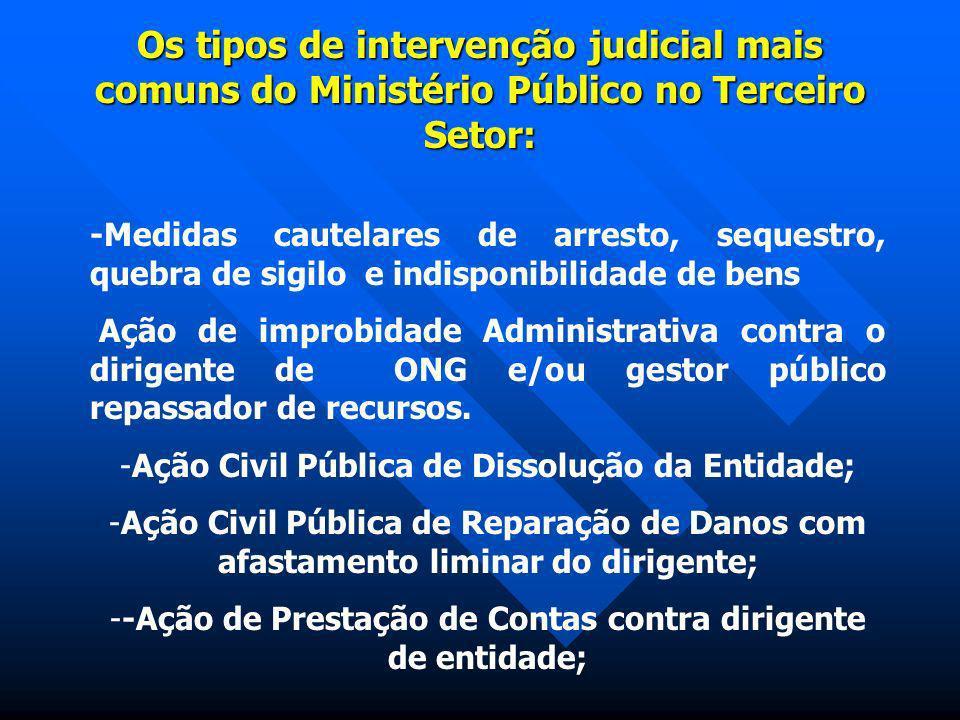 Os tipos de intervenção judicial mais comuns do Ministério Público no Terceiro Setor: -Medidas cautelares de arresto, sequestro, quebra de sigilo e in