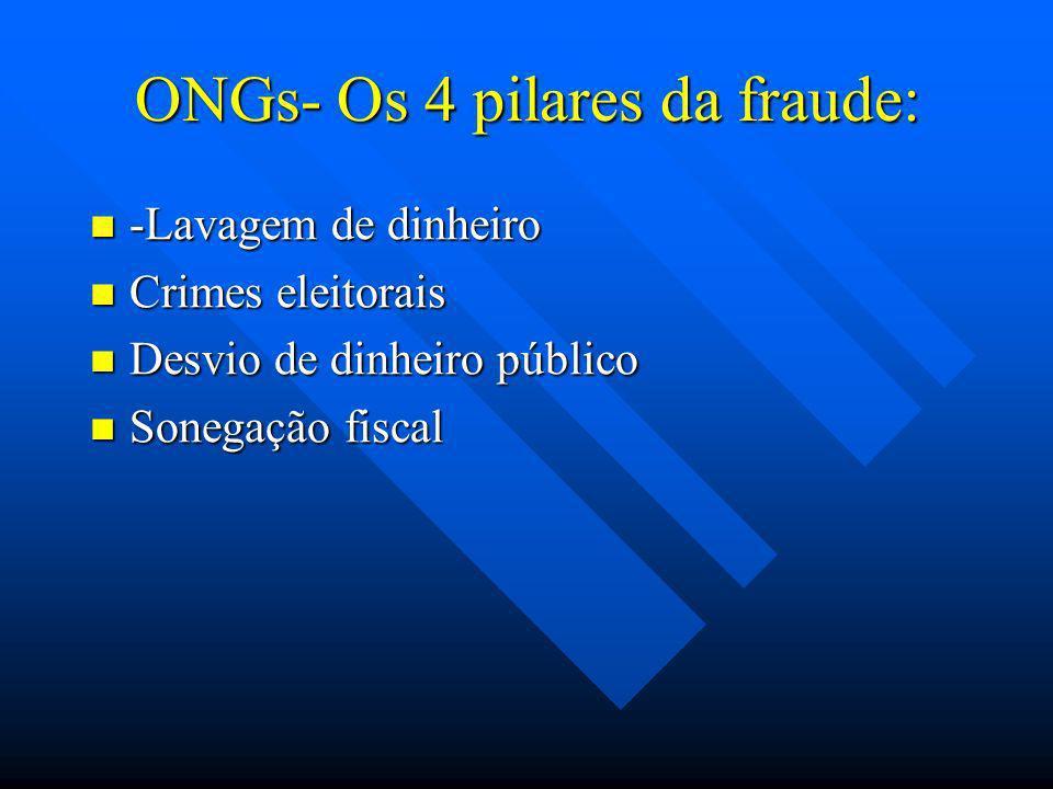 ONGs- Os 4 pilares da fraude: -Lavagem de dinheiro -Lavagem de dinheiro Crimes eleitorais Crimes eleitorais Desvio de dinheiro público Desvio de dinhe