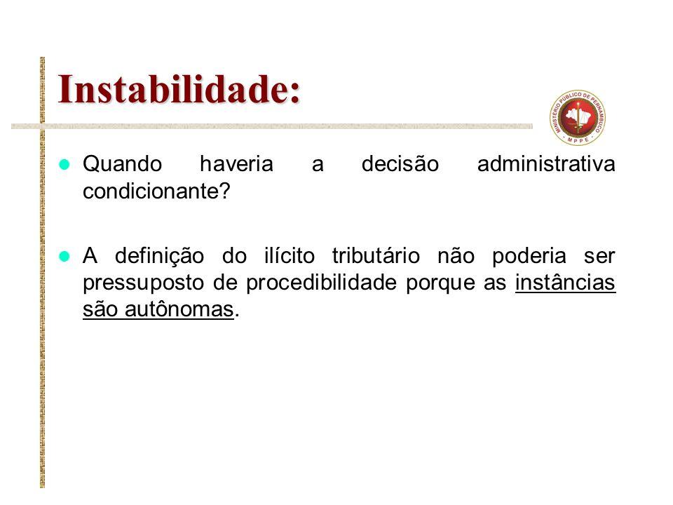 Instabilidade: Quando haveria a decisão administrativa condicionante? A definição do ilícito tributário não poderia ser pressuposto de procedibilidade
