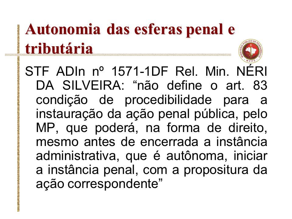 Autonomia das esferas penal e tributária STF ADIn nº 1571-1DF Rel. Min. NÉRI DA SILVEIRA: não define o art. 83 condição de procedibilidade para a inst