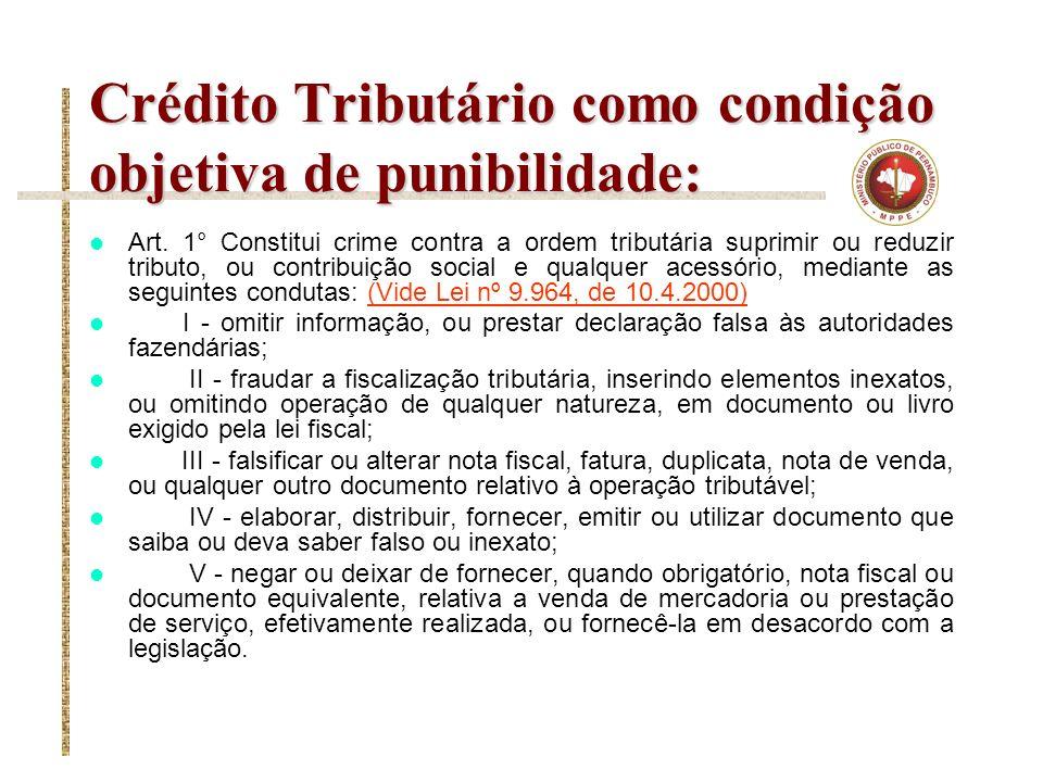 Crédito Tributário como condição objetiva de punibilidade: Art. 1° Constitui crime contra a ordem tributária suprimir ou reduzir tributo, ou contribui