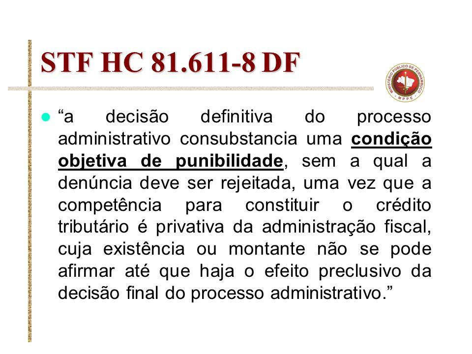 STF HC 81.611-8 DF a decisão definitiva do processo administrativo consubstancia uma condição objetiva de punibilidade, sem a qual a denúncia deve ser