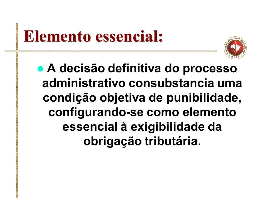 Elemento essencial: A decisão definitiva do processo administrativo consubstancia uma condição objetiva de punibilidade, configurando-se como elemento