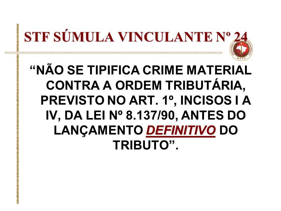 STF SÚMULA VINCULANTE Nº 24 DEFINITIVO NÃO SE TIPIFICA CRIME MATERIAL CONTRA A ORDEM TRIBUTÁRIA, PREVISTO NO ART. 1º, INCISOS I A IV, DA LEI Nº 8.137/