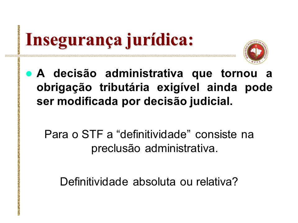 Insegurança jurídica: A decisão administrativa que tornou a obrigação tributária exigível ainda pode ser modificada por decisão judicial. Para o STF a