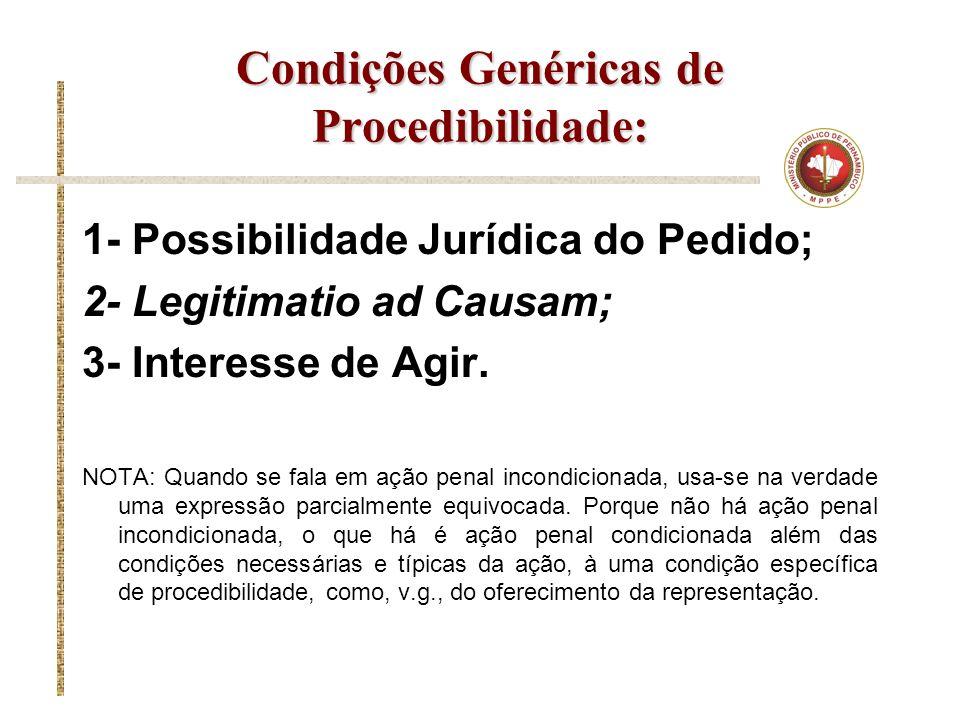 Condições Genéricas de Procedibilidade: 1- Possibilidade Jurídica do Pedido; 2- Legitimatio ad Causam; 3- Interesse de Agir. NOTA: Quando se fala em a