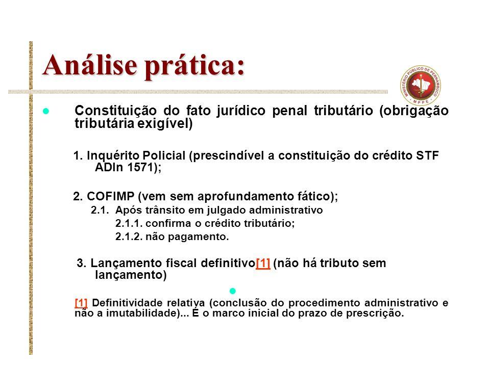 Análise prática: Constituição do fato jurídico penal tributário (obrigação tributária exigível) 1. Inquérito Policial (prescindível a constituição do