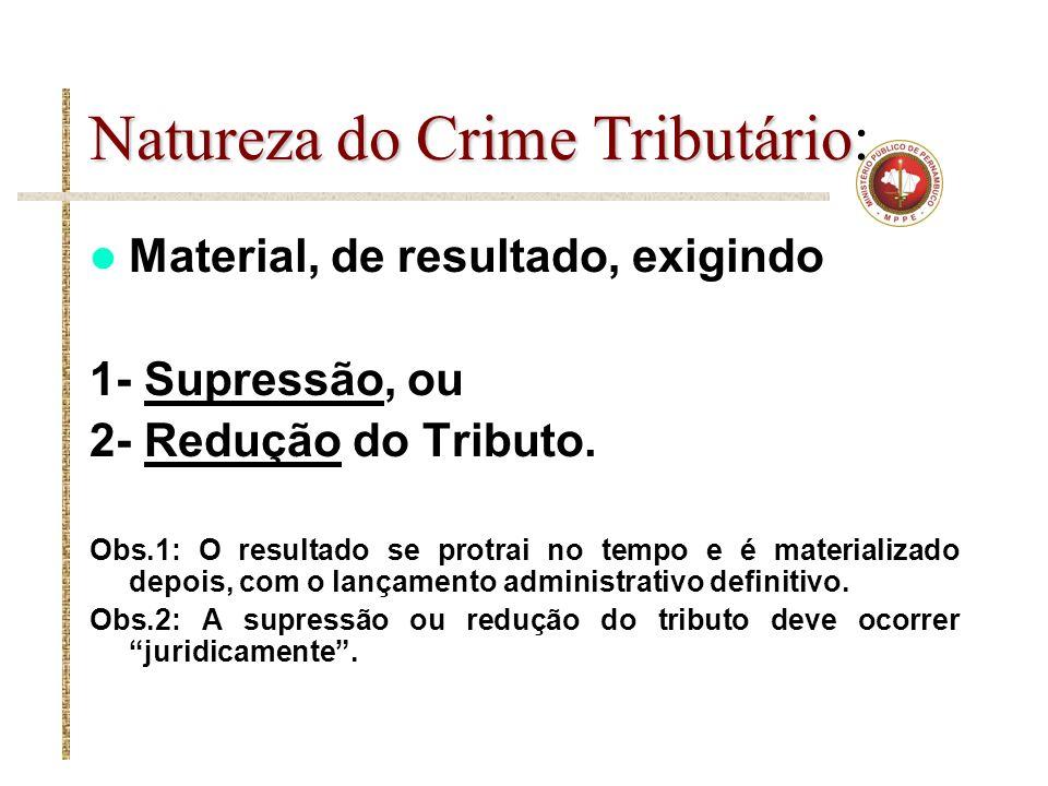 Natureza do Crime Tributário Natureza do Crime Tributário: Material, de resultado, exigindo 1- Supressão, ou 2- Redução do Tributo. Obs.1: O resultado