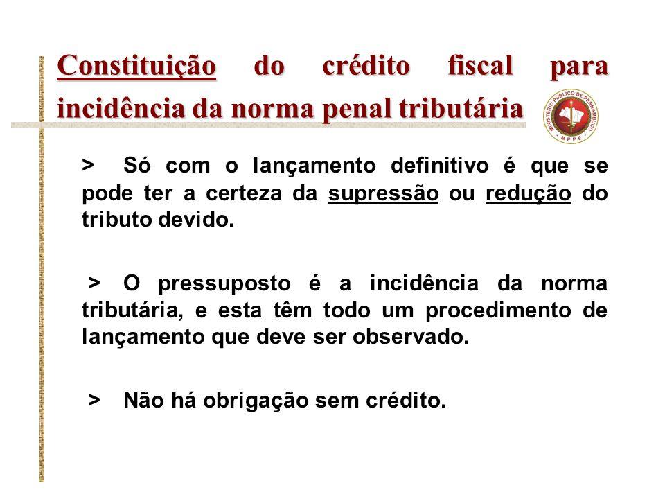 Constituição do crédito fiscal para incidência da norma penal tributária > Só com o lançamento definitivo é que se pode ter a certeza da supressão ou